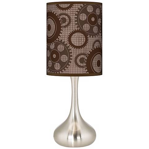 Industrial Gears Giclee Droplet Table Lamp