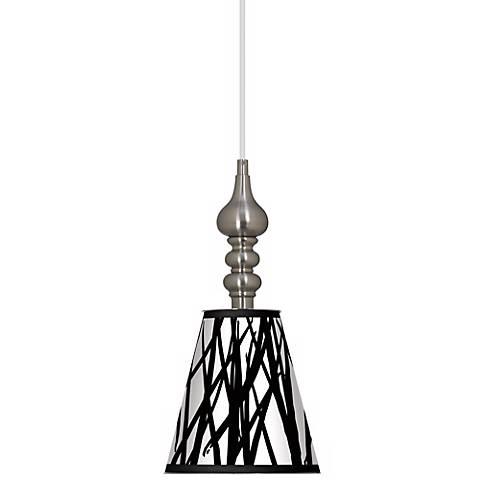"Black Jagged Stripes 7 1/2"" Wide Brushed Steel Mini Pendant"