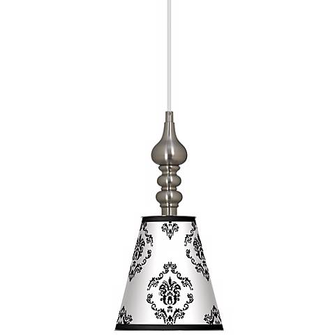 """French Crest 7 1/2"""" Wide Brushed Steel Mini Pendant"""