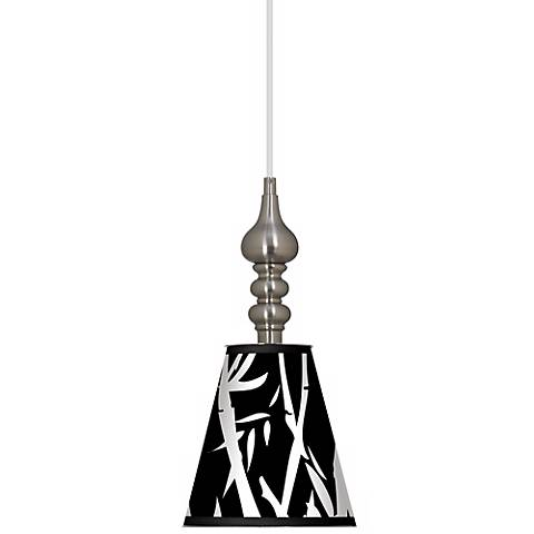 "Night Bamboo 7 1/2"" Wide Brushed Steel Mini Pendant"