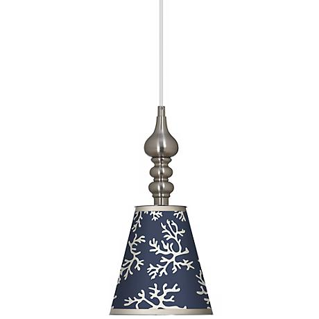 """Prussian Coral 7 1/2"""" Wide Brushed Steel Mini Pendant"""
