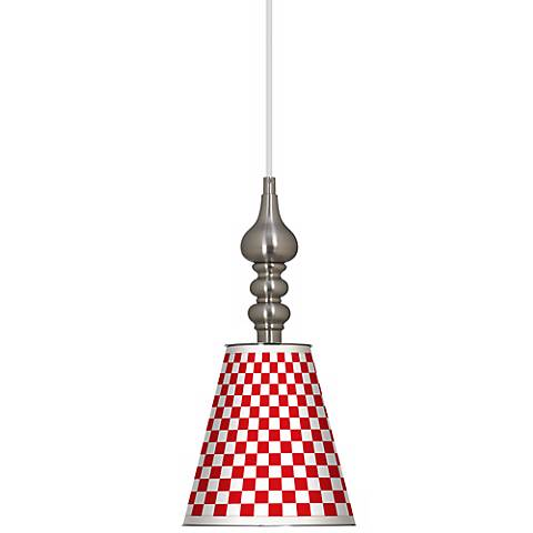 "Checkered Red 7 1/2"" Wide Brushed Steel Mini Pendant"