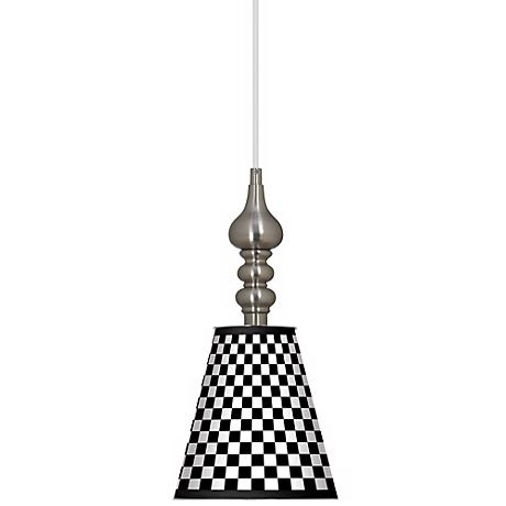 "Checkered Black 7 1/2"" Wide Brushed Steel Mini Pendant"