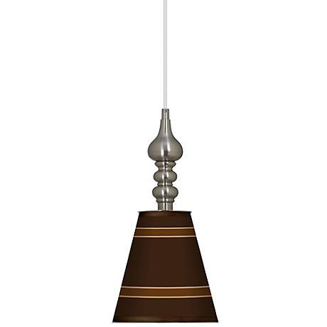 "Saratoga Stripe 7 1/2"" Wide Brushed Steel Mini Pendant"