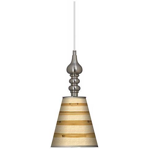 "Bamboo Wrap Giclee 7 1/2"" Wide Brushed Steel Mini Pendant"