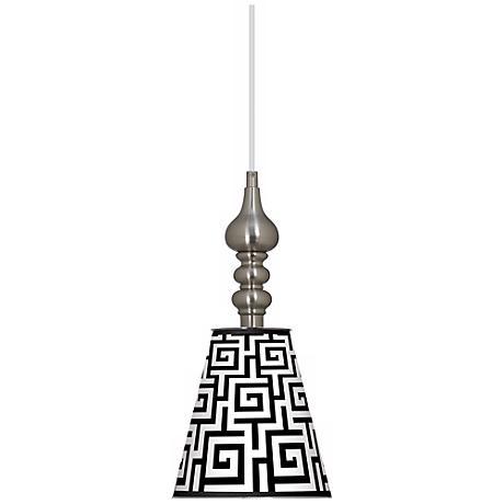 "Greek Key Giclee 7 1/2"" Wide Brushed Steel Mini Pendant"