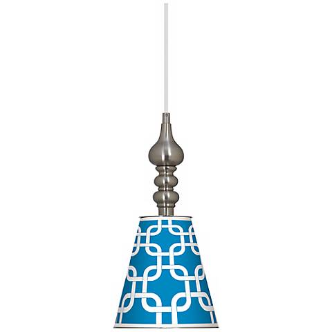 "Blue Lattice Giclee 7 1/2"" Wide Brushed Steel Mini Pendant"