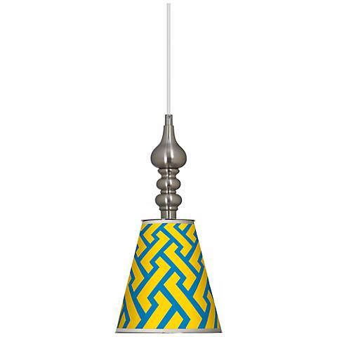 "Yellow Brick Weave 7 1/2"" Wide Brushed Steel Mini Pendant"