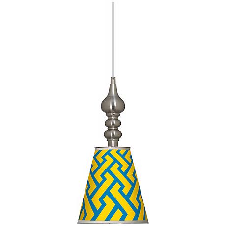 "Yellow Brick Weave 7 1/2"" Wide Brushed Steel Mini Pendant"