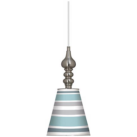 "Multi Color Stripes 7 1/2"" Wide Brushed Steel Mini Pendant"