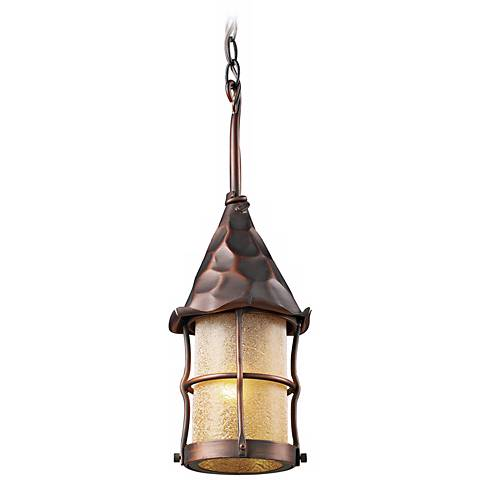 "Rustica Antique Copper Scavo 18""H Outdoor Hanging Light"