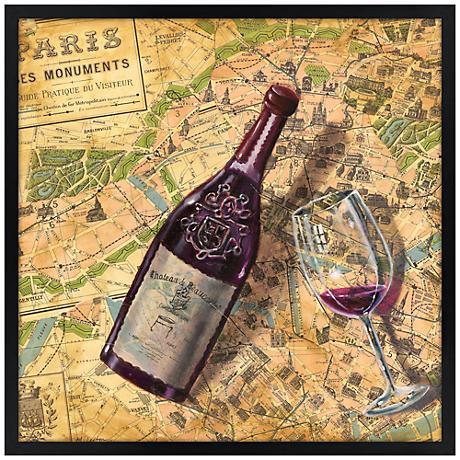 "Taste of Paris 26"" Square Black Giclee Wall Art"