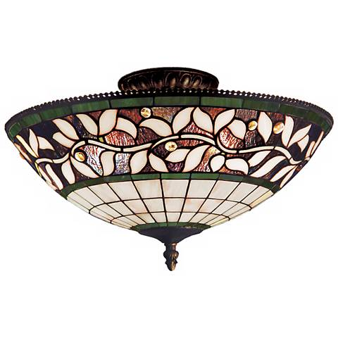 "English Ivy Tiffany Glass 16"" Wide Ceiling Light Fixture"