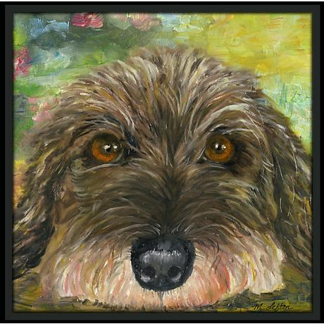 "Puppy Eyes 37 1/2"" Square Black Giclee Wall Art"