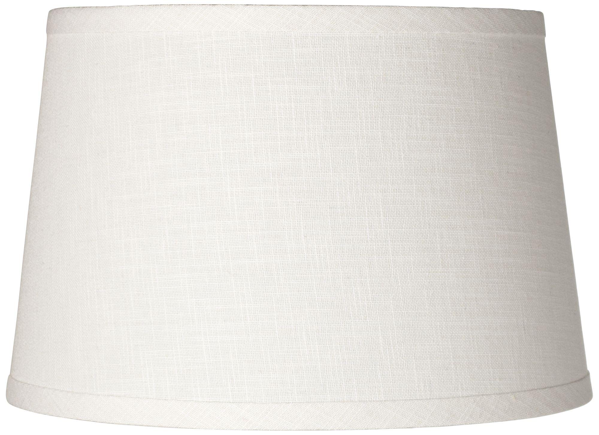 white linen drum lamp shade 10x12x8 spider - Drum Lamp Shades