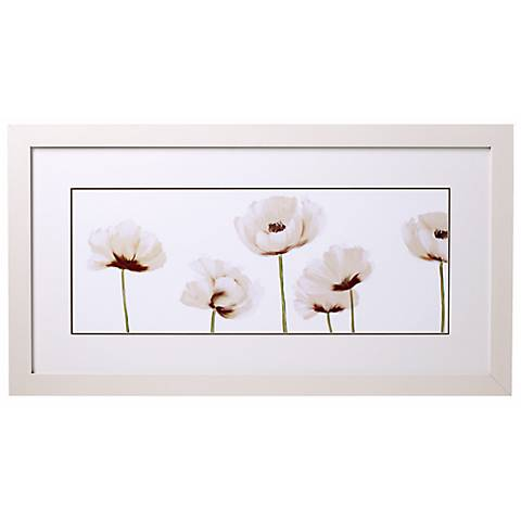 """White Poppies Line-up II Glass Covered 32"""" Wide Print"""