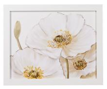 """White Poppies Close Ups Framed Print 28"""" Wide Wall Art"""