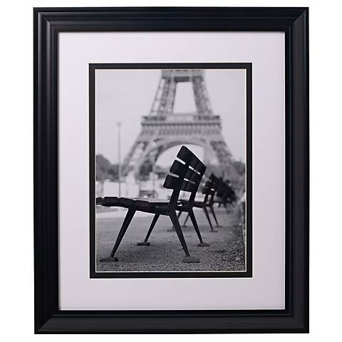 "Eiffel Tower Benches Glass Covered 24"" High Print"