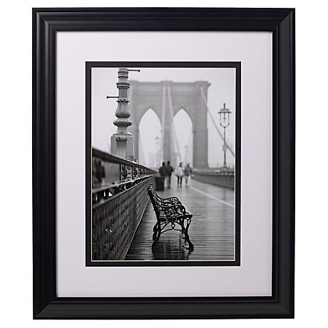 "Brooklyn Bridge Bench 24"" High Glass Covered Print"