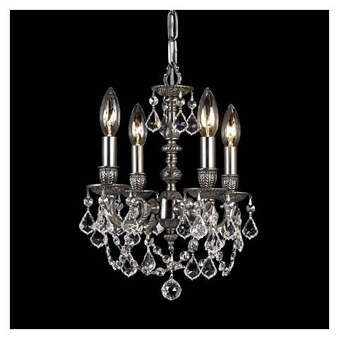 Mirabella Pewter 4-Light Crystal Chandelier