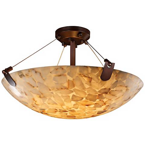 "Alabaster Rocks Bronze Trim 18"" Wide Semiflush Ceiling Light"