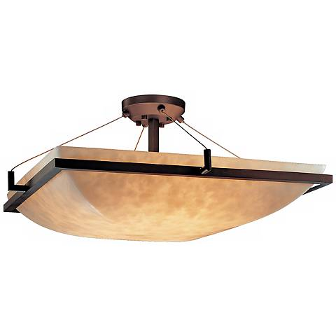"Clouds Dark Bronze 24"" Wide Semiflush Ceiling Light"