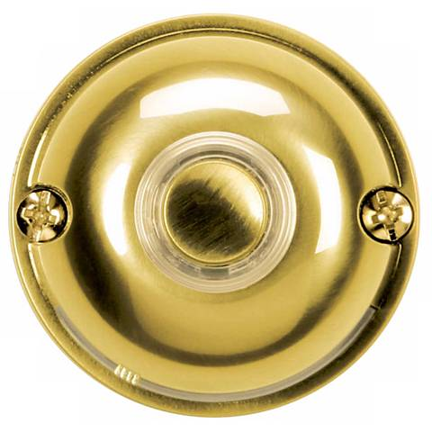 """Polished Brass 2"""" Round LED Doorbell Button"""