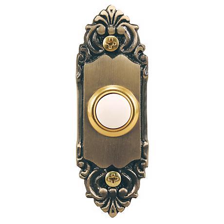 Antique Brass Decorative Style Lighted Doorbell Button