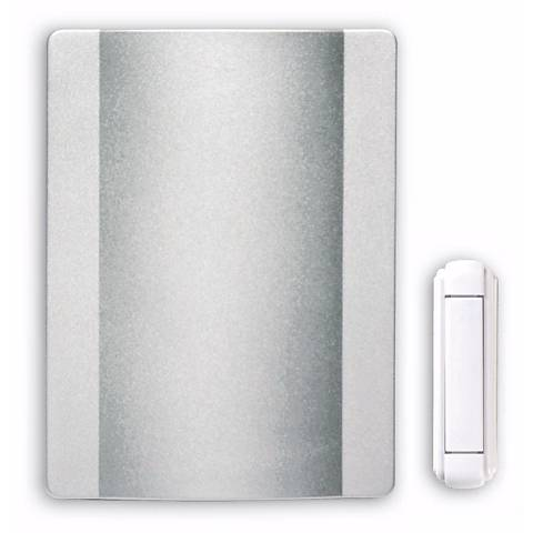 "Modern Satin Nickel Finish Wireless 4 1/2"" Wide Door Chime"