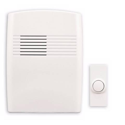 "Modern White Finish Wireless 5"" Wide Door Chime"