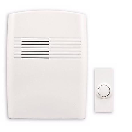 "Modern White Finish Wireless 5"" Wide Door Chime"