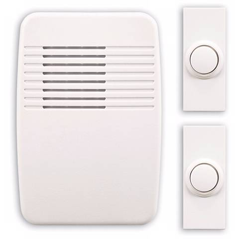 Modern White Wireless Doorbell System with Two Buttons