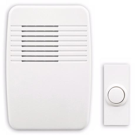 "Modern White Wireless Battery Powered 3 1/2"" Wide Door Chime"