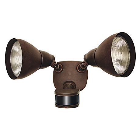 "Rust 17""W 2-Light Dusk to Dawn Motion Sensor Security Light"