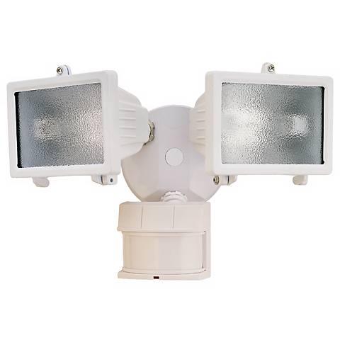White Finish 13 Quot Wide 2 Light Motion Sensor Security Light
