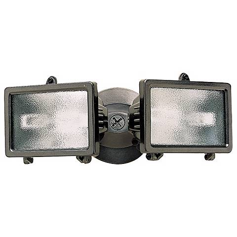 "Bronze Finish 12 1/4"" Wide Twin Halogen Security Light"