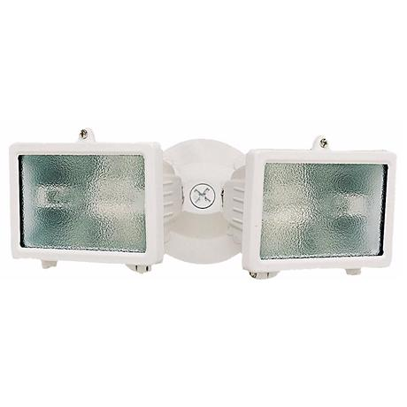 """White Finish 12 1/4"""" Wide Twin Halogen Security Light"""