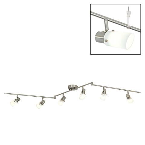 "White Glass 71"" Wide 6-Light Bendable Ceiling Light Fixture"