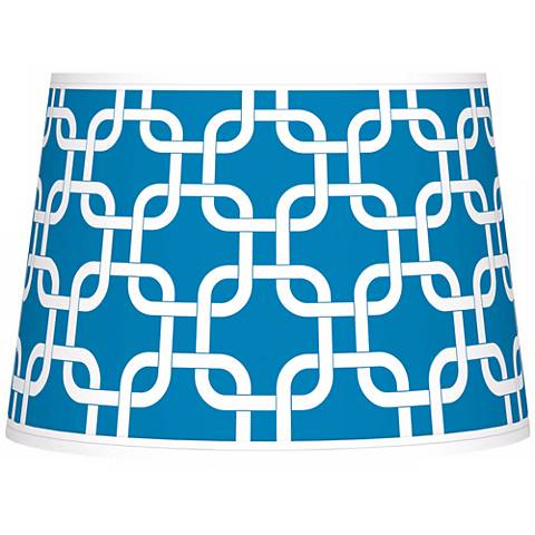 Blue Lattice Giclee Tapered Lamp Shade 10x12x8 (Spider)