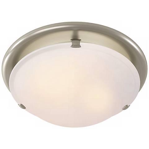 Sleek Circle Brushed Nickel Bathroom Fan with Light
