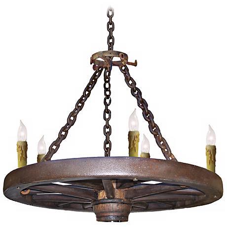 """Amberwood Candelabra Style 36"""" Wagon Wheel Chandelier"""