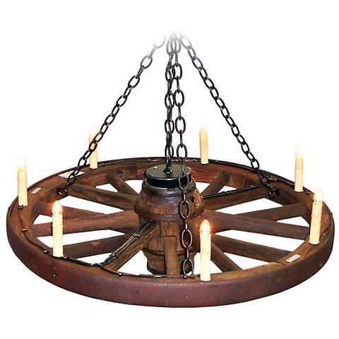 """Amberwood Candelabra Style 48"""" Wagon Wheel Chandelier"""