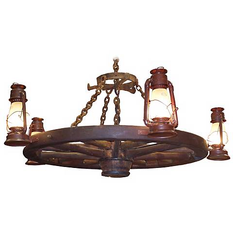 "Amberwood Side Lanterns 60"" Wagon Wheel Chandelier"