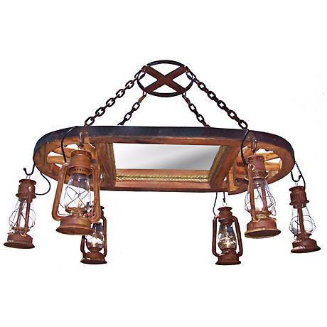 Amberwood Rust Lanterns Wagon Wheel Island Chandelier