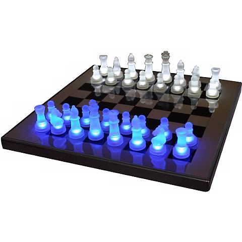 LED Glow Blue and White Chess Set