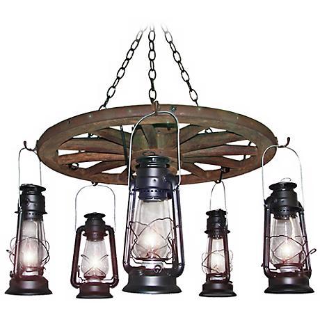 "Amberwood Black Lanterns 24"" Wagon Wheel Chandelier"