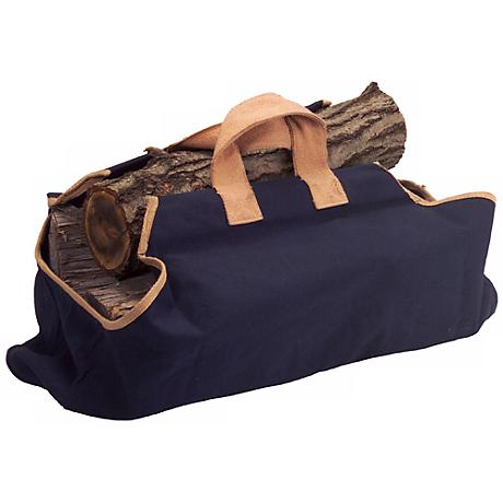 Navy with Tan Canvas Bag Log Carrier