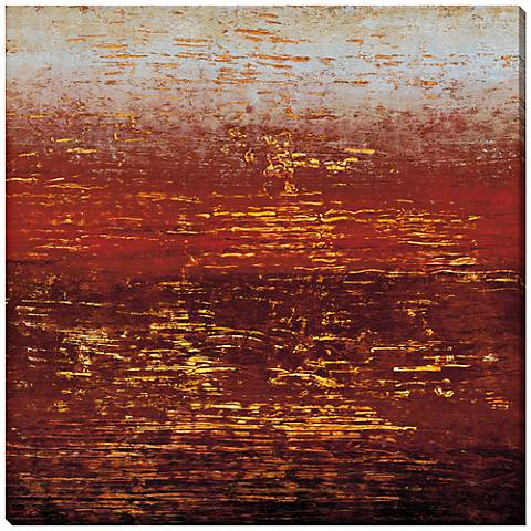 "Red Strata III Giclee Indoor/Outdoor 40"" Square Wall Art"