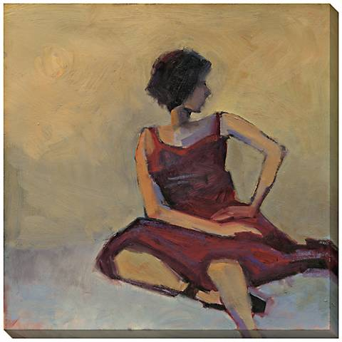 """Girl in Red Dress Limited Edition Giclee 40"""" Square Wall Art"""
