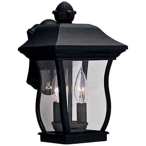 "Chelsea 13""H 2-Light Clear Glass Black Outdoor Wall Light"